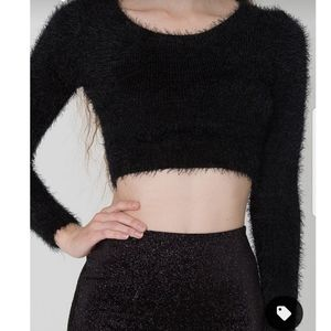 American Apparel Super Soft, Fuzzy Cropped Sweater Size S Black